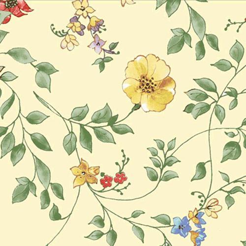 Bouquet Splendor multi floral on pale yellow