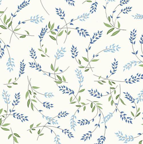 Bouquet Splendor blue sprigs on white