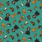 Rescued and Loved Tossed Allover Characters Teal