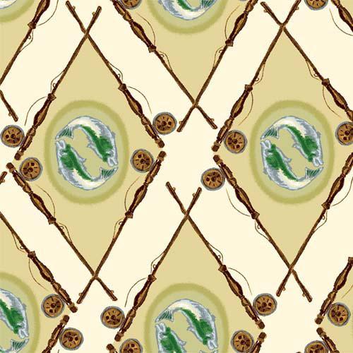 Henry Glass - Little Rivers - Fish Medallion Argyle Tan