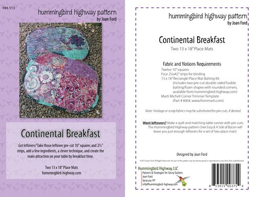 Continental Breakfast Placemat Pattern