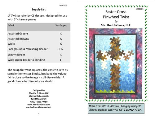 Easter Cross Pinwheel Twist Pattern - Martha D Zines - MDZ005