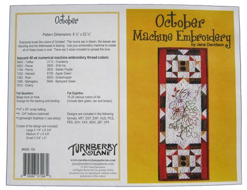 October Machine Embroidery Pattern by Turnberry Ln+