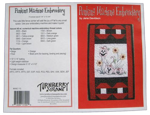 Punkins Machine Embroidery by Jana Davidson MME110^
