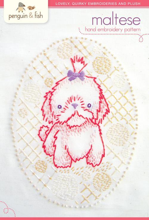 Maltese Pup Hand Embrod Patt