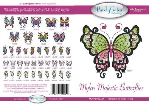 Mylar Majestic Butterflies Multi Format Embroidery CD