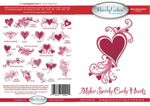 Pattern CD Mylar Swirly Curly Hearts Machine Embroidery