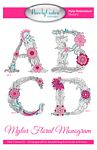 Mylar Floral Monogram  Machine Embroidery Design