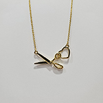 Scissor & Heart Charm Necklace from The Quilt Spot (Gold)