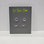 Button Scissors Earrings 2ct Silver