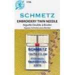 Schmetz 2.0/75 Chrome Twin Embroidery Needle