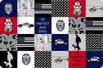 Digital Cuddle Print Police Blue Line