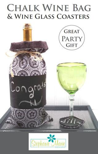 Chalk Wine Bag & Wine Glass Coasters pattern