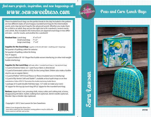 Sew Sweetness- Peas &  Corn Lunch Bags
