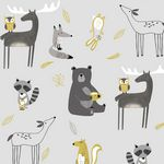 AVALANA Jersey-Forest Animals Grey and Yellow