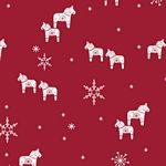 Nordic Hygge, Dala Horses on Red, by Stof Fabrics