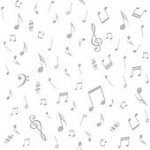 Quilters Harmony-Musical Notes, White/Grey