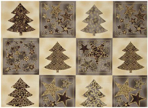 Enjoy Christmas-Star/Tree Blocks Grey/Ivory