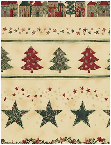 >Fab:Enjoy Christmas-Star/Tree Border,Red/Grn/Ivry