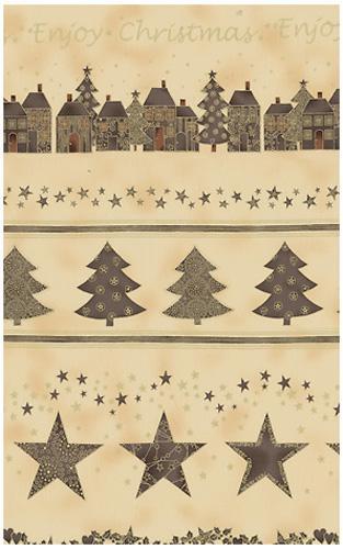 >Fab:Enjoy Christmas-Town/Tree Border, Grey/Ivory