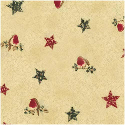 Christmas GreetingsBirds, Gold Red GreenTan
