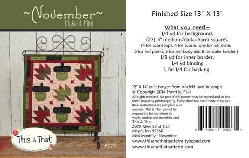 November Make It Mini Pattern Card by This & That+