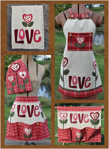 Just 2 Tea Towels Love Set Pattern