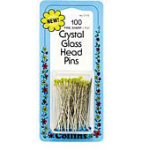 Crystal Glass Head Pins 6/box