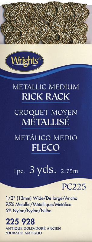 Wrights Medium Metallic Rick Rack 1 x 3yds, Silver