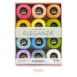 Eleganza Embroidery Thread Collection - Twelve Balls of #8 Egyptian Perle Cotton, 42 yards/5 grams each - Pastel Colorway