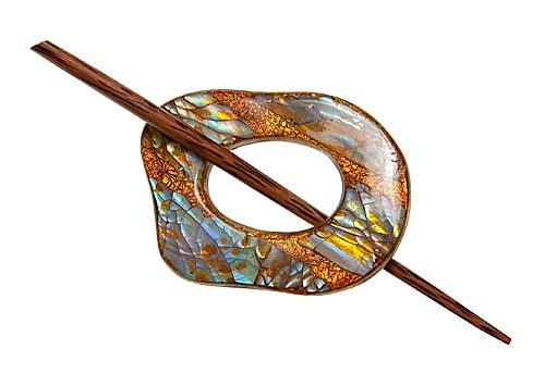Copper Shell Shawl Pin