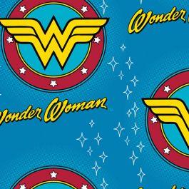 FLANNEL - DC COMICS-WONDER WOMAN LOGO-100% Cotton Flannel-42/43 2340024B