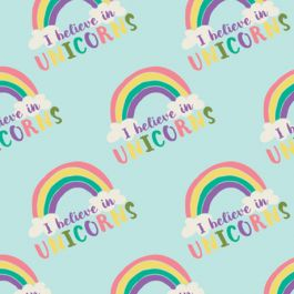 I Believe in Unicorns Flannel - Green Rainbow