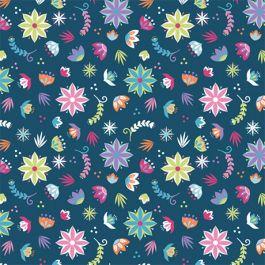 Camelot Llama Drama Flowers - Navy/Multi (Minimum order 1 metre)