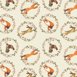 Camelot Fables Foxes Hares and Cockerels - Beige (Min order of 1m)