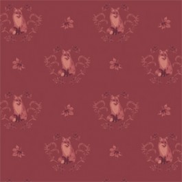 Camelot Fables Foxes and Leaves - Cranberry (Min order of 1m)