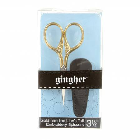 Gingher 3 1/2in Goldhandle Lions Tail Embroidery Scissors