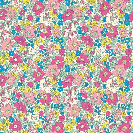 04775718B Flower Show Summer Cosmos Bloom for Liberty Fabrics. 100% cotton 43 wide