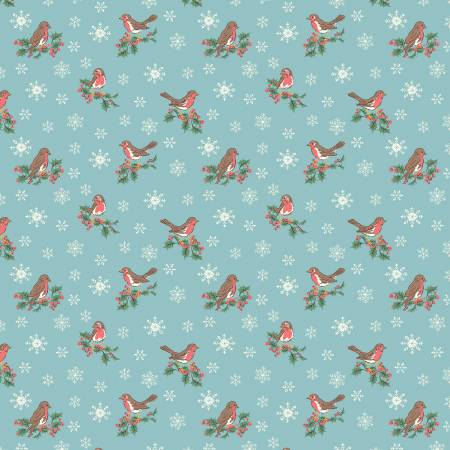 Festive Collection Jolly Robin Blue by Liberty fabrics