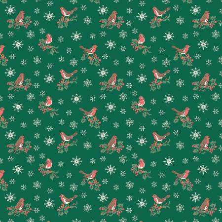 Festive Collection Jolly Robin Green by Liberty fabrics