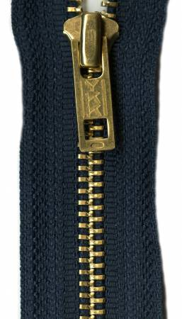 Brass 1-Way Separating Zipper 24in Navy - A560