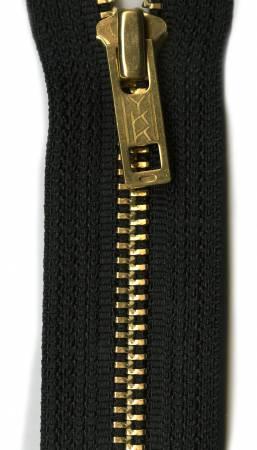 Brass 1-Way Separating Zipper 24in Black