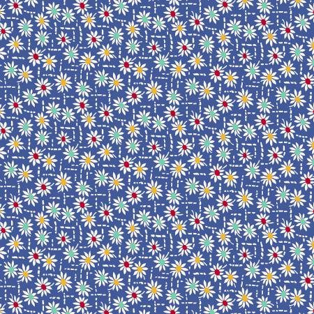 Aunt Graces Apron 30's  Daisy Stitch Blue