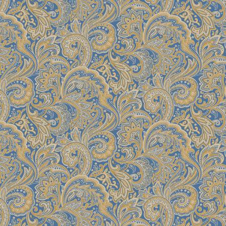 Blue Medium Paisley - Paisley Palette by  Marcus Fabrics