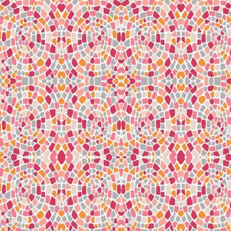 Peach Mosaics- Dance of the Dawn by Sarah J for Marcus Fabrics