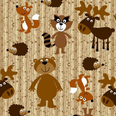 Brown Woodland Animals Flannel