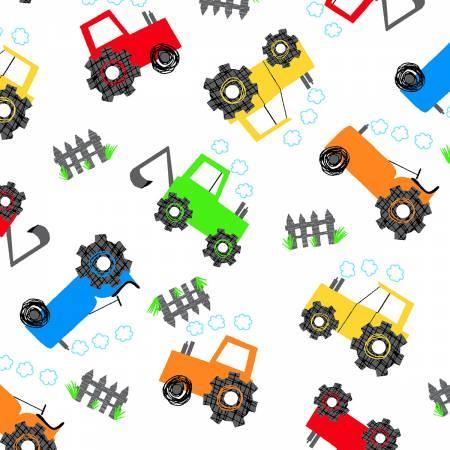 White Multicolored Tractors Flannel