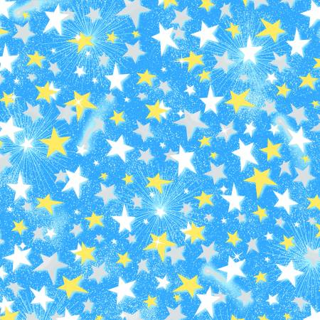 Yellow and White Stars on Blue  Comfy Flannel