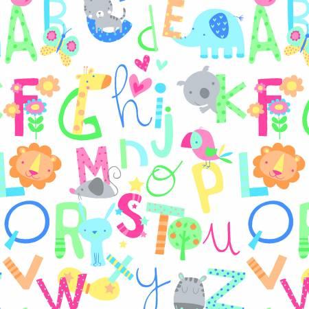 0999AE-123 White Alphabet Comfy Flannel