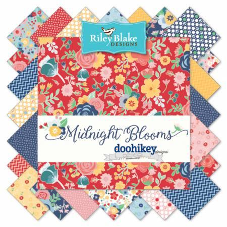 Midnight Blooms 10in Squares 42 Pcs, Doohikey Designs for Riley Blake Designs